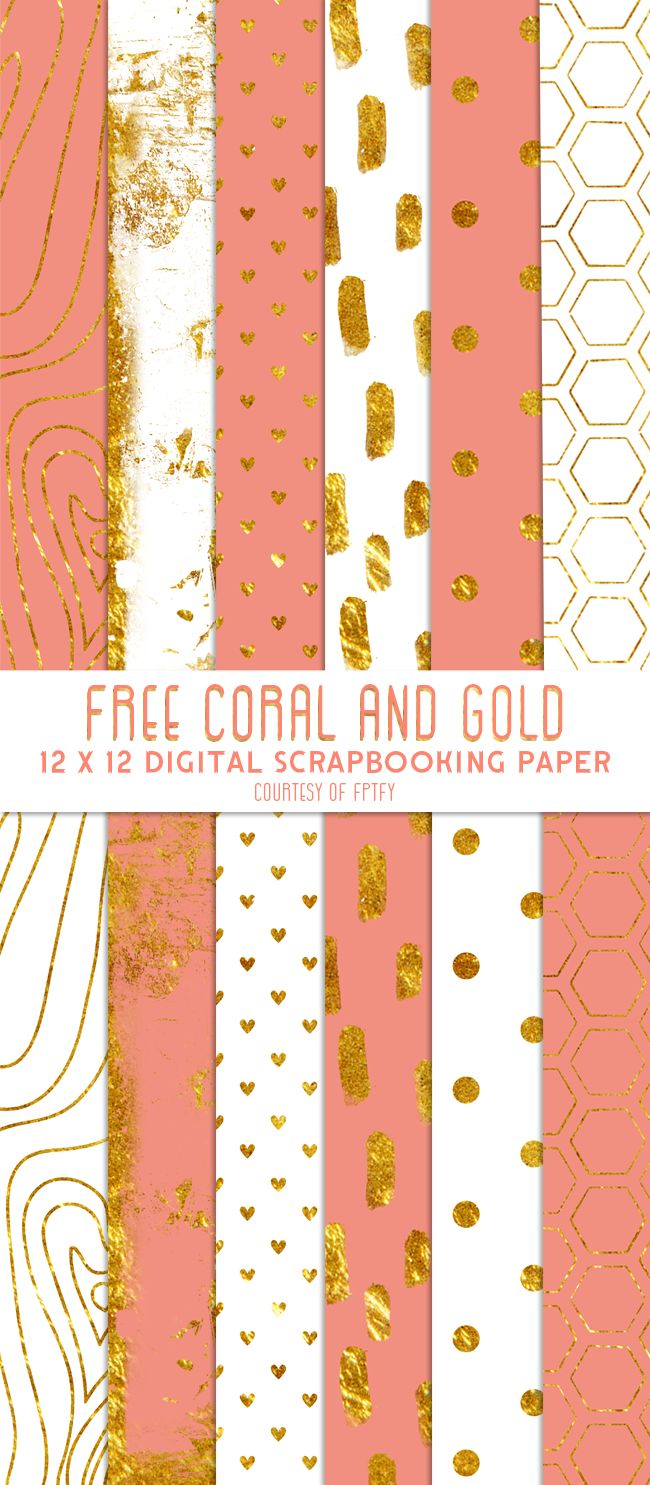 Free Digital Scrapbook Paper- Coral Gold and White - Free Pretty Things For You