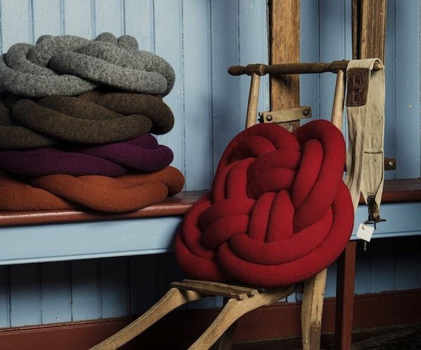 NotKnot #Pillow / These Notknot pillows will brighten up your living room! They are oversized knots made out of filled woolen cylinders. http://thegadgetflow.com/portfolio/notknot-pillow/