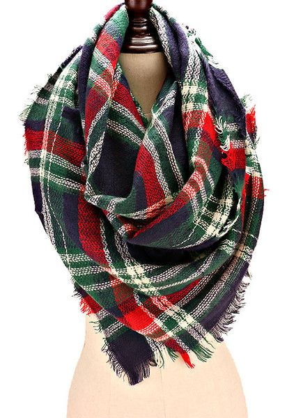 Oversized Plaid Blanket Scarf - Navy/Green/Red
