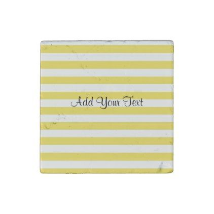 Pale Gold and White Stripes by Shirley Taylor Stone Magnet - diy cyo personalize design idea new special