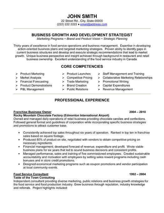 Click Here to Download this Franchise Business Owner Resume Template! http://www.resumetemplates101.com/Executive-resume-templates/Template-365/