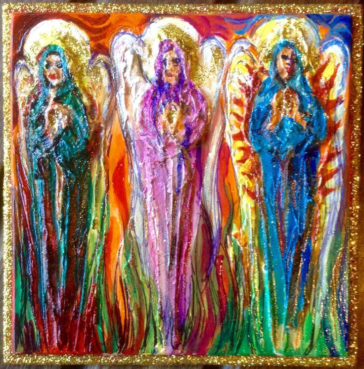 Three Angels, mixed media, Wakefield Artist Tim Burton.