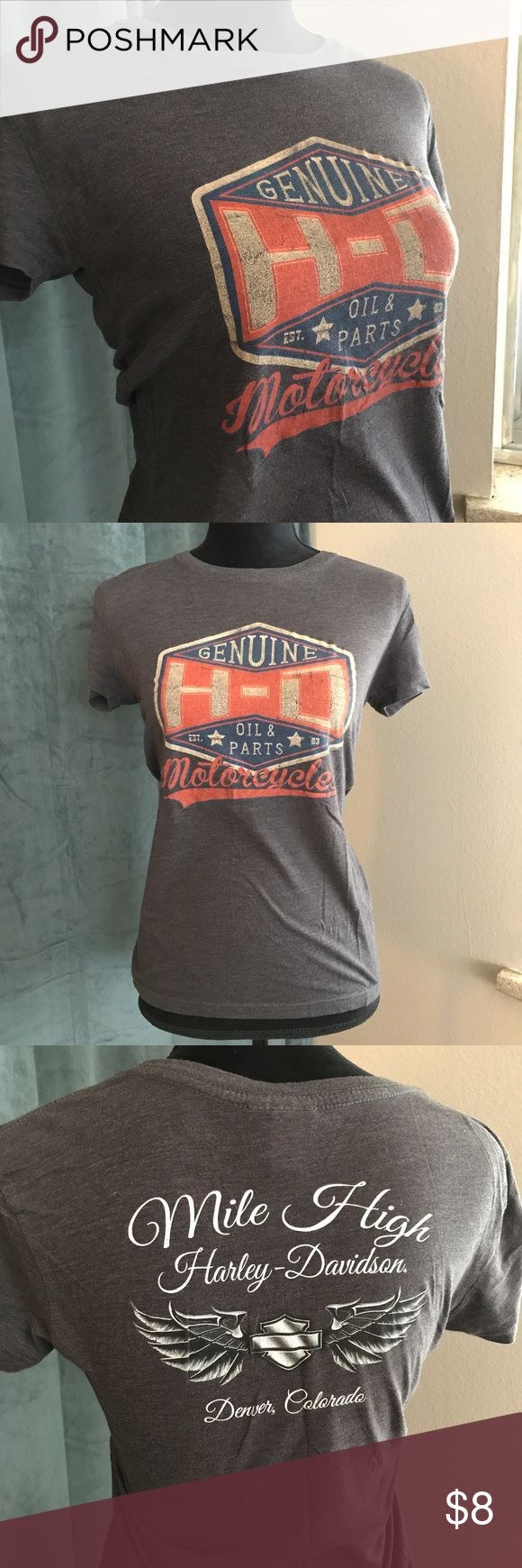 Harley Davidson Grey Women's Tee. Denver, CO Grey Harley Davidson Tee in great shape. Lightly worn with no holes, damages or stains.  Tag says Medium. Fits like small  Representing Mile High Harley Davidson in Denver, CO Harley-Davidson Tops Tees - Short Sleeve