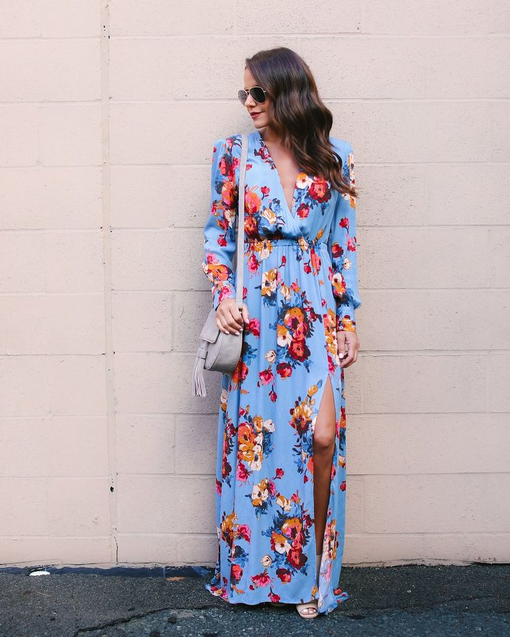 Amina Long Sleeve Maxi Dress - Blue
