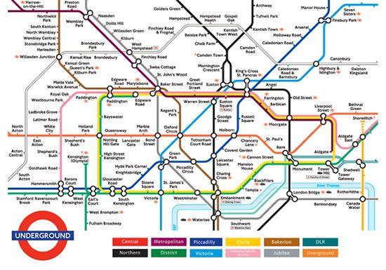 Plan des zones 1 et 2 du métro de Londres