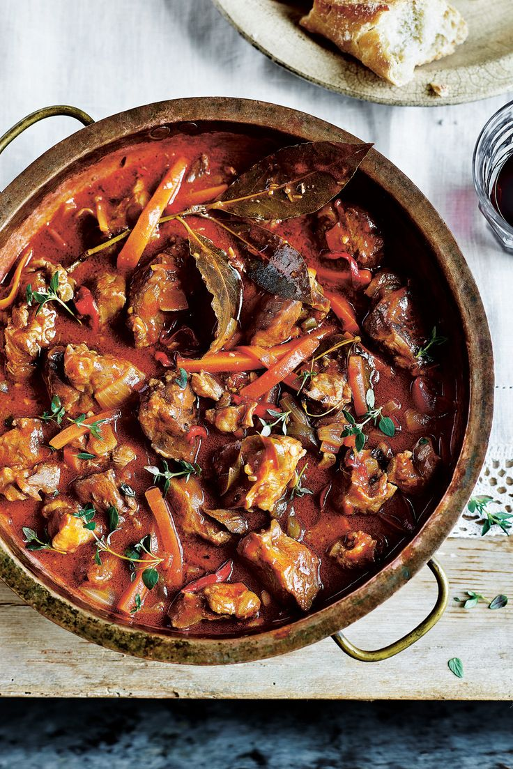 Slow cooked lamb and pepper stew