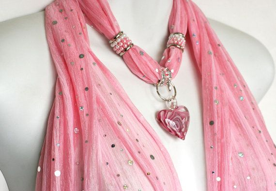 Pink Scarf Jewelry Pendant Scarves With by RavensNestScarfJewel, $25.00