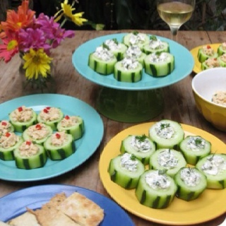 Cucumber Snacks: Peel several cucumbers, leaving a few thin stripes of peel. Cut into one-inch slices and use a small spoon or melon-baller to scoop out some of the seeds, creating little cucumber cups. Scoop a small spoonful of filling into each one and garnish. Fillings: Boursin: -1 package of cream cheese, softened -1 clove garlic, minced -1 teaspoon lemon juice fresh herbs – you can use chives, parsley, dill, thyme, basil, oregano, marjoram… you don't need all of these, use whicheve...