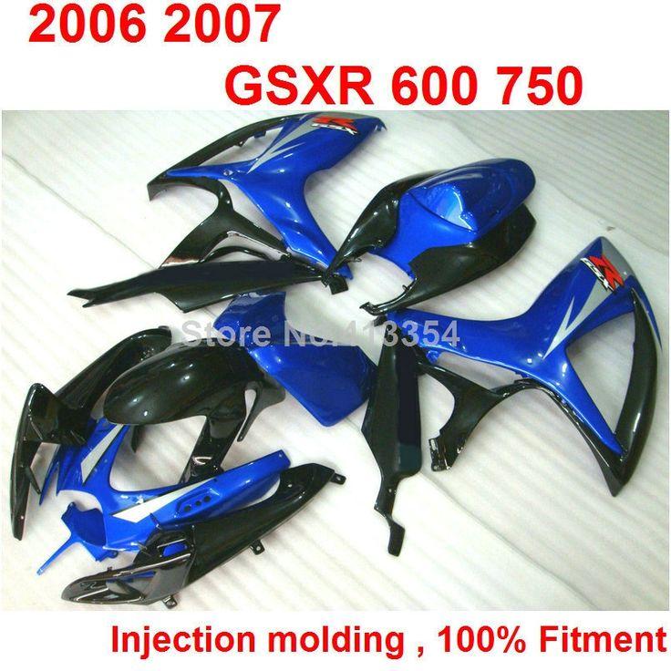 (427.70$)  Buy here  - Injection molding ABS full fairing kit for Suzuki GSXR 600 750 06 07 blue black fairings set GSXR 750 2006 2007 NB36