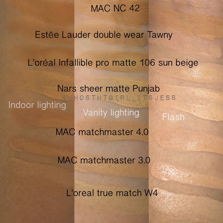 Seasonal shades, Liquid foundation swatches (I highly recommend the Estée Lauder double wear and the L'oreal infallible pro matte for oily skin)  MAC NC 42 Estée Lauder Double wear Tawny  L'oréal infallible pro matte 106 sun beige  Nars sheer matte Punjab MAC matchmaster 4.0 MAC matchmaster 3.0 L'oréal true match W4