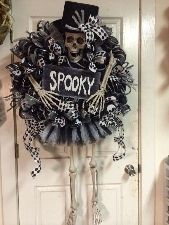 Halloween Skeleton Wreath by HighMaintenanceDes on Etsy