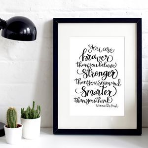 'Stronger Than You Think' Typographic Print - what's new