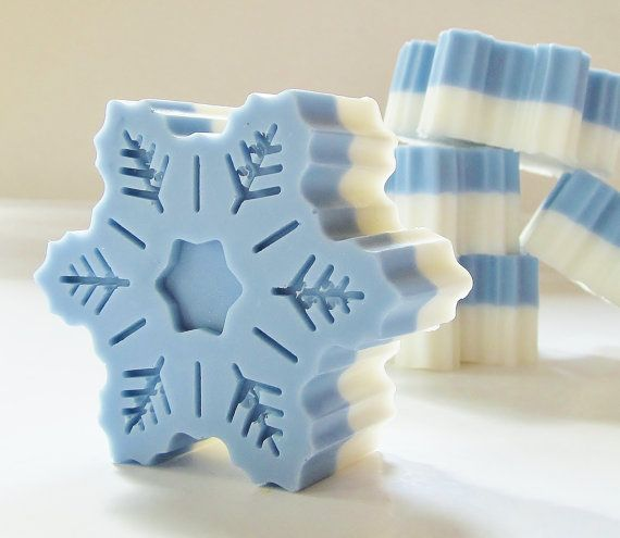 Blue Snowflake Peppermint Natural Soap - natural, gift soap, glycerin, vegan, winter, christmas, holiday, stocking stuffer