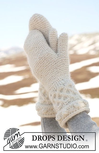 "Ravelry: 115-33 Mittens in ""Alpaca"" and ""Kid-Silk"" with garter st, cables and bobbles pattern by DROPS design-free pattern"