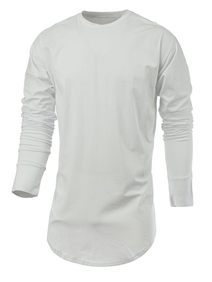 T-Shirts | White Side Slit Arc Cutting Round Neck Long Sleeve T-Shirt - Gamiss