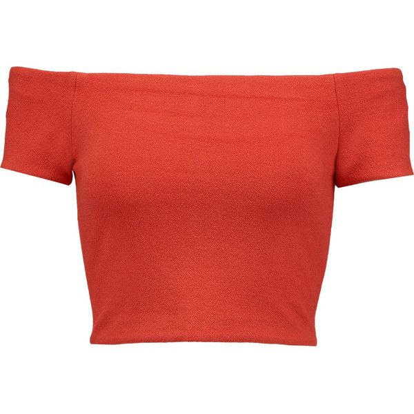 Alice + Olivia Gracelyn cropped off-the-shoulder crepe top ($120) ❤ liked on Polyvore featuring tops, tomato red, slimming tops, red top, off the shoulder crop top, off shoulder crop top and red crop top