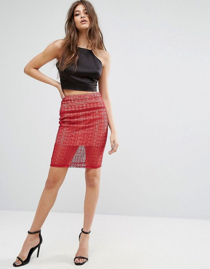 The English Factory Lace Pencil Skirt - Red