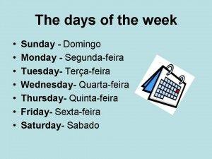 dias da semana em ingles para imprimir