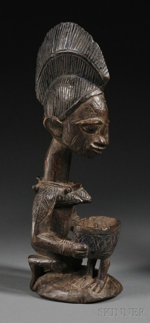 42 Yoruba Carved Wood Female Figure the