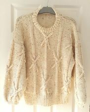 True Vintage 80s Hand knitted Aran jumper UK14 16 pure wool slouchy A1 cond.