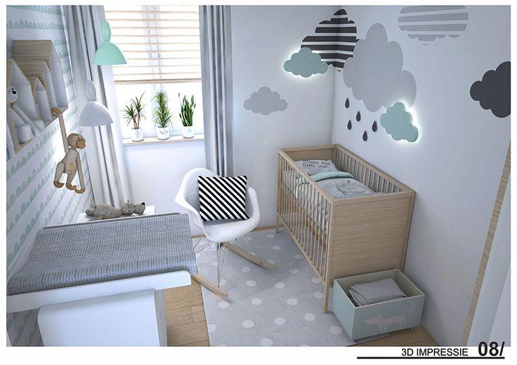 Mintgroene en lichtgrijze wolkjes in de babykamer_ 3D 1