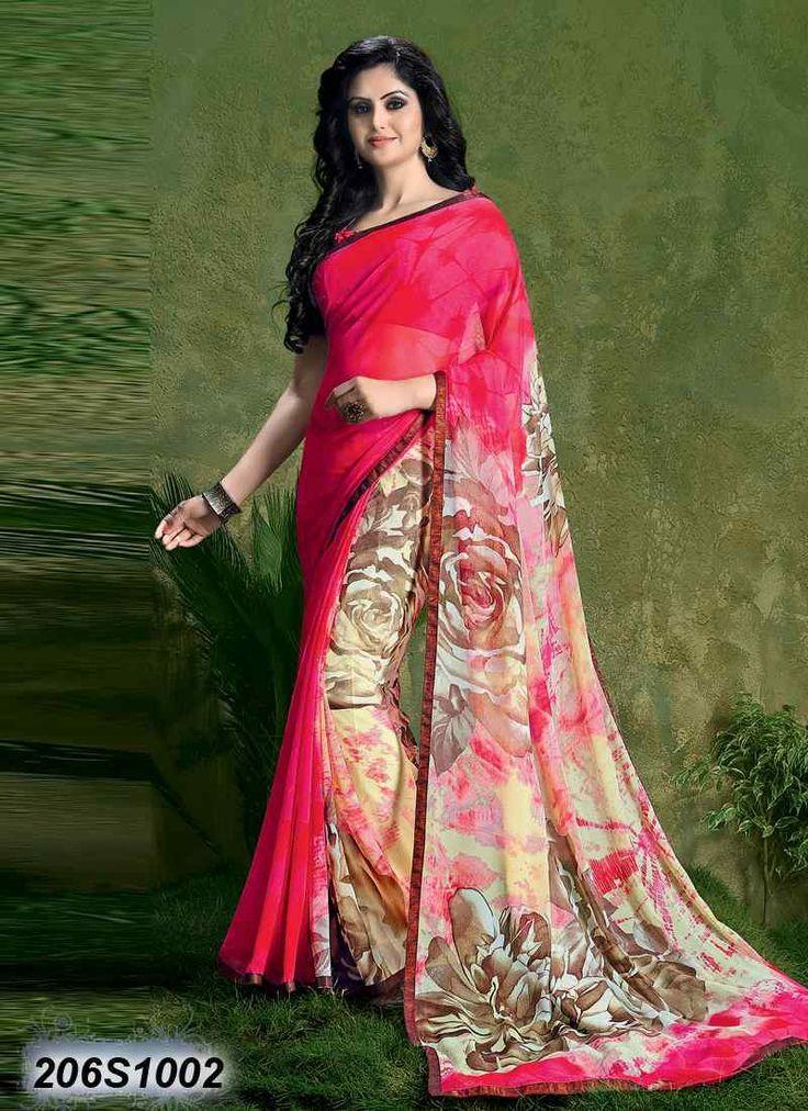 Creative Pink Coloured Georgette Printed Saree