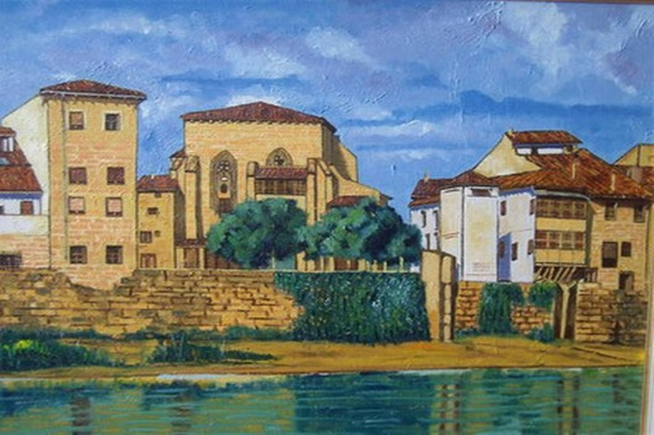 Titulo: Barrio Aquende (Miranda de Ebro), óleo sobre tela, 73 x 60, 700 €