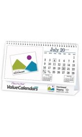 CUSTOM DESK TOP CALENDARS Let ValueCalendars.com help design and print your Custom Desk Top Calendars. Unlike newspaper and radio advertisements, often muted or missed, custom desk tent calendars have the capability to fully broadcast your message--keeping your brand message front of mind--all year long.  In either 6 or 12-sheet formats, custom photo desk calendars delivery a great value in a very compact useful size.