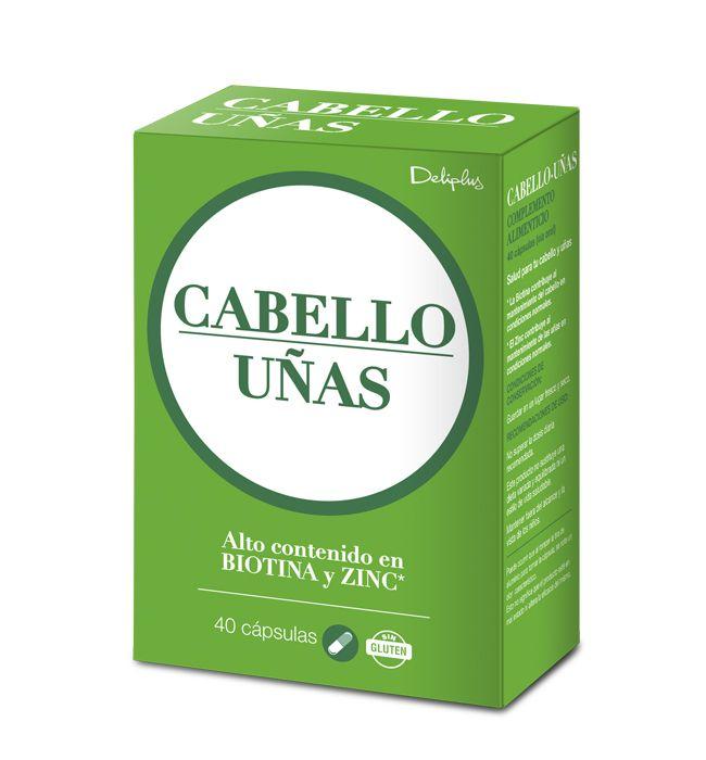 CABELLO UÑAS Complemento alimenticio con alto contenido en Biotina. La Biotina contribuye al mantenimiento del cabello en condiciones normales. 40 cápsulas.