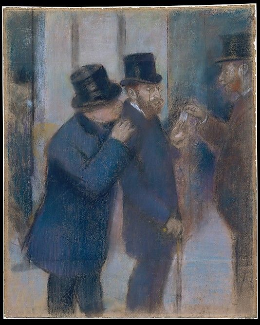 Edgar Degas (French, 1834–1917). Portraits at the Stock Exchange, ca. 1878–79.The Metropolitan Museum of Art, New York. Gift of Janice H. Levin, 1991 (1991.277.1). | This study for an oil painting by Degas of 1878–79 (Musée d'Orsay, Paris) depicts the financier and collector Ernest May (1845–1925) under the portico of the Paris stock exchange. #paris