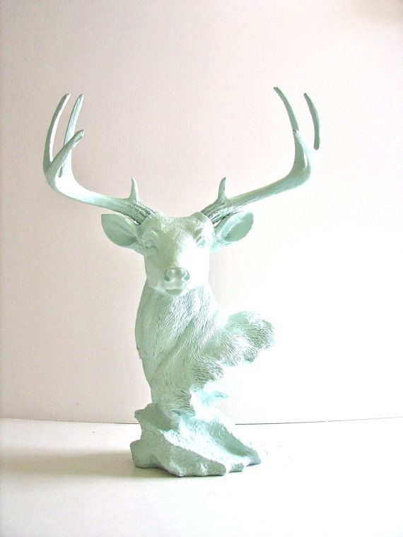 Stag Animal Bust Statue in icicle blue woodland by mahzerandvee