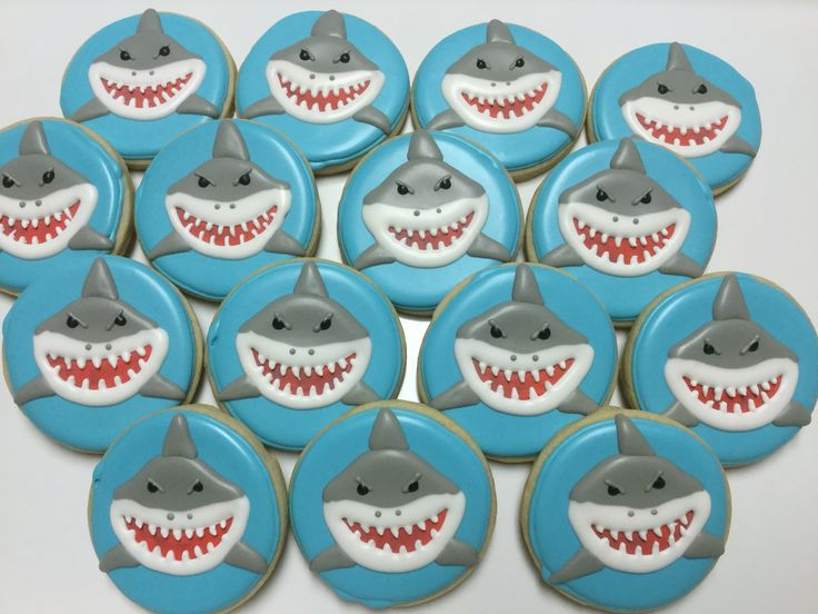 Shark decorated sugar cookies by I Am the Cookie Lady