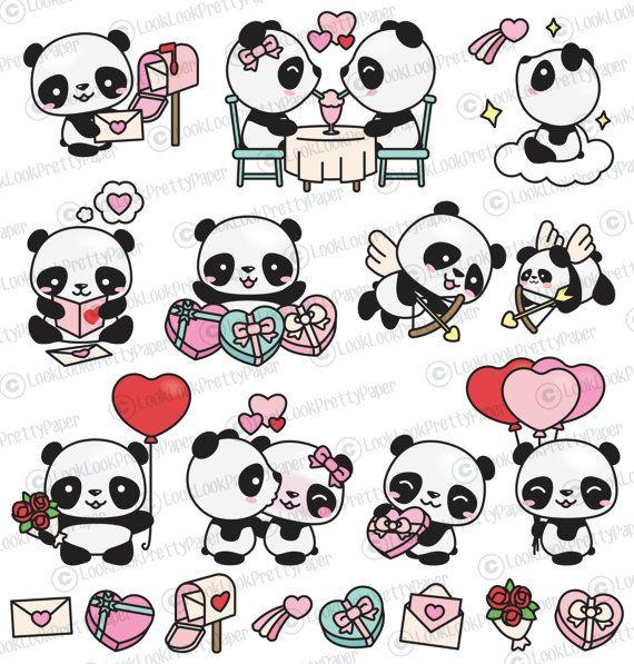 Hoge kwaliteit vector clipart. Schattige Pandas van de dag van Valentijnskaarten vector illustraties. Perfect voor het maken van wenskaarten, uitnodigingen en briefpapier, het verfraaien van uw blog of website, ontwerpen van posters en kamer decor voor kinderen of babys. Kan worden gebruikt voor digitale of af te drukken. Ideaal voor baby foom decor, cadeaubonnen en inpakpapier, scrapbooking en blogs of websites.  Deze hoge kwaliteit vector-elementen komen in een volledig bewerkbare…