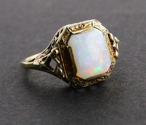 Antique 14K Gold Opal Stone Ring   Art Deco 1920s Jewelry by MaejeanVINTAGE, $225.00