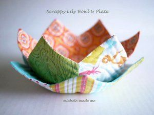 Lovely Lily Bowl and Plate  If you can't find tutorial and template with link you may find on original posting. http://www.michelemademe.com/2013/06/scrap-challenge-entry-lily-bowl-and.html
