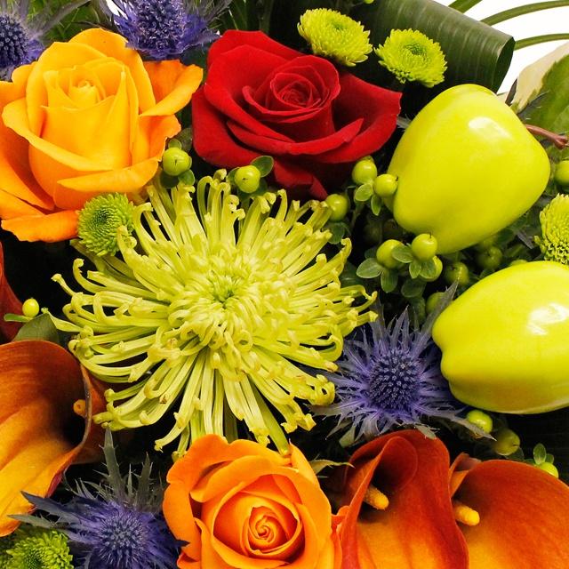 Sunset Luxury Hand-tied Bouquet flowers in beautiful autmumn colours www.eden4flowers.co.uk
