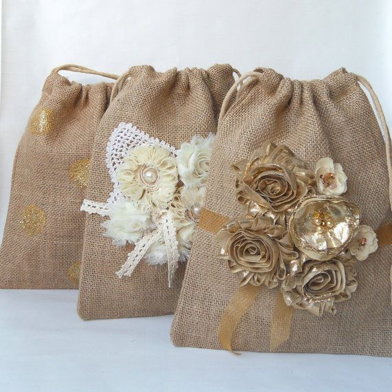 Dollar dance bag  - gold wedding burlap bag, on SALE now for $19  by PaperFlora