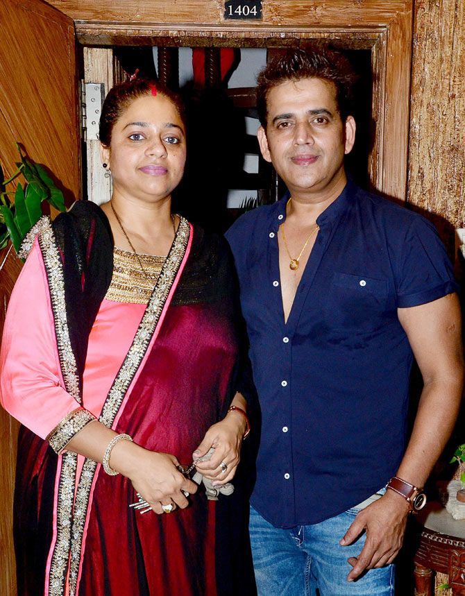 Ravi Kishan with wife Preeti at the former's birthday bash. #Bollywood #Bhojpuri #Fashion #Style #Handsome