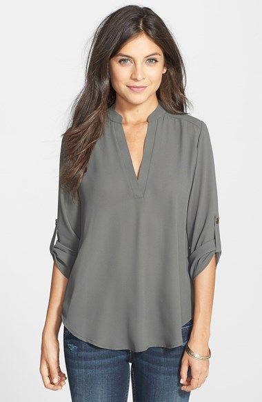 Lush Roll Tab Sleeve Woven Shirt (Juniors) | Nordstrom