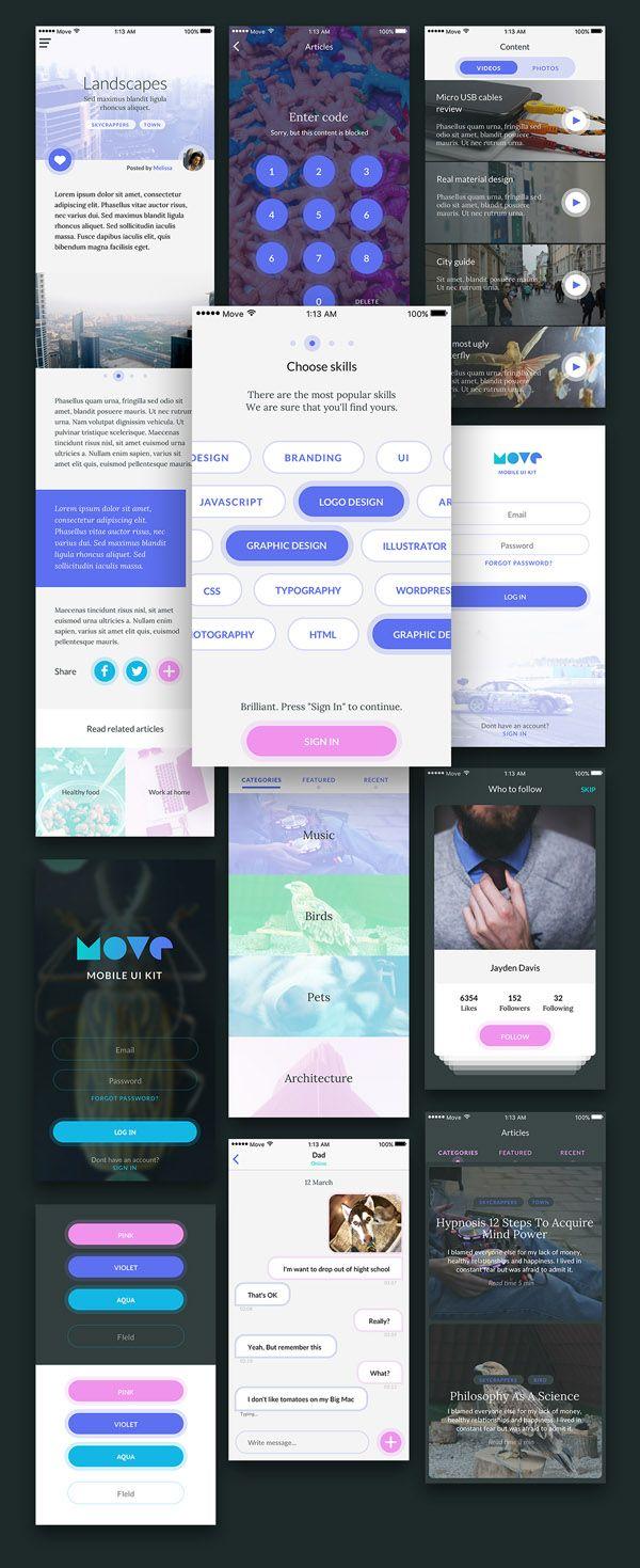 Move Mobile UI Kit - Free Download