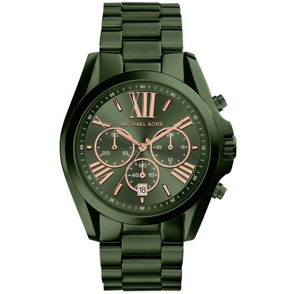 Michael Kors Women's Bradshaw Olive Stainless Steel Bracelet Watch... ($250) ❤ liked on Polyvore featuring jewelry, watches, olive, chronos watch, chronograph bracelet watch, olive green jewelry, stainless steel jewelry and stainless steel jewellery