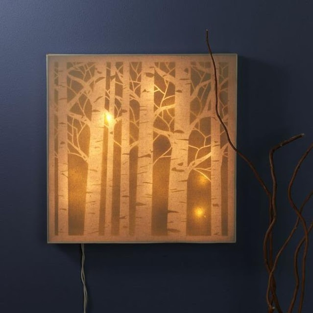 Forest Canvas Night Light using #CraftersWorkshop stencils created by Sarah Owens for #CraftWarehouse