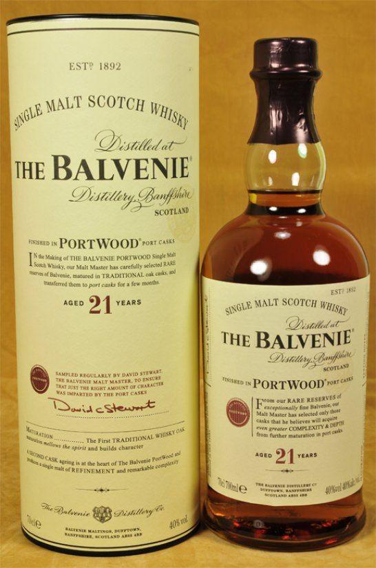 Balvenie Whisky 21 y.o.  Dieser Malt ist in Bourbonfässern gereift und anschliessend in First-Fill- Port Pipes gelagert.