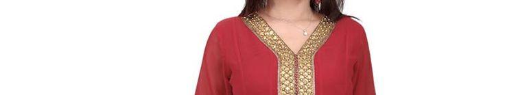 Maroon Faux Georgette Anarkali Churidar Kameez with Dupatta Online Shopping: SLKYC122
