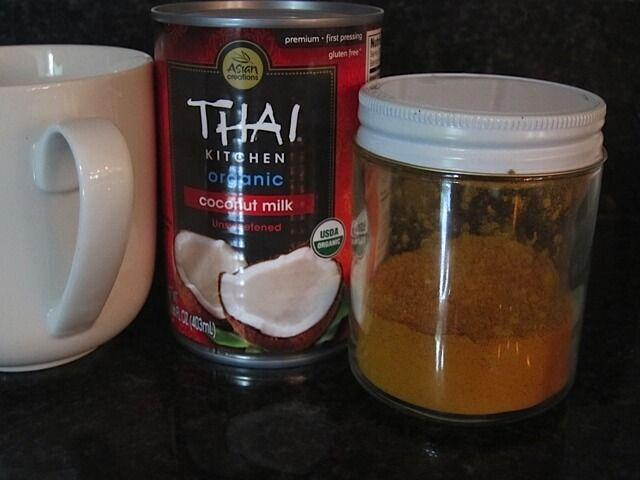 Turmeric Milk for blood circulation & anti-inflammatory // coconut milk, turmeric, black pepper, sliced ginger (strain out), raw honey