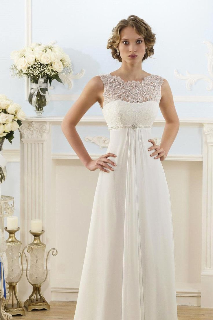 Elegant Wedding Dresses For Pregnant Brides : New arrival elegant high neckline lace top pregnant