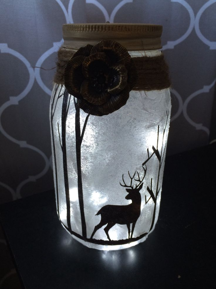 Deer in woods Night light mason jar vase Just add a battery powered tea light or string lights.  Optional: Battery powered led string lights . Powered by 3 AA batteries (not included)