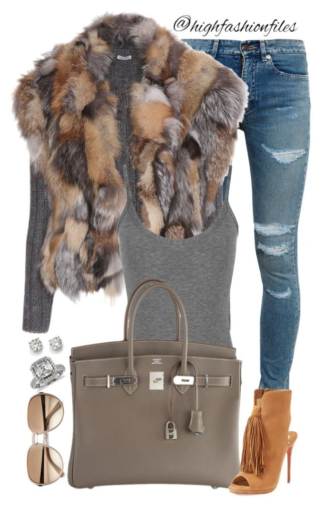 """""""New York Babe"""" by highfashionfiles ❤ liked on Polyvore featuring Yves Saint Laurent, Miu Miu, WearAll, Givenchy, Saks Fifth Avenue, Blue Nile, Oscar de la Renta, Hermès, Christian Louboutin and women's clothing"""