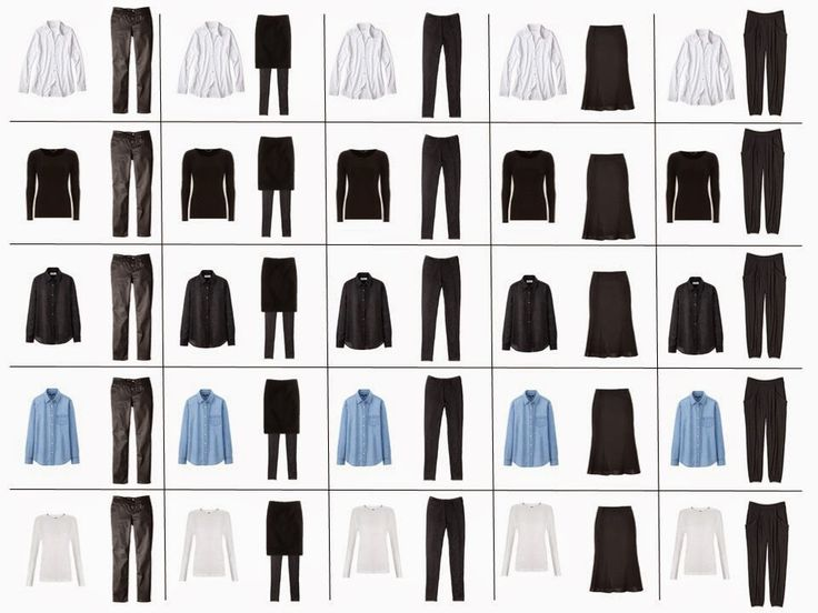 French 10 piece wardrobe - If they're carefully chosen, these ten items can give you 25 base ensembles from which you can go crazy with accessories, jackets, or cardigans.
