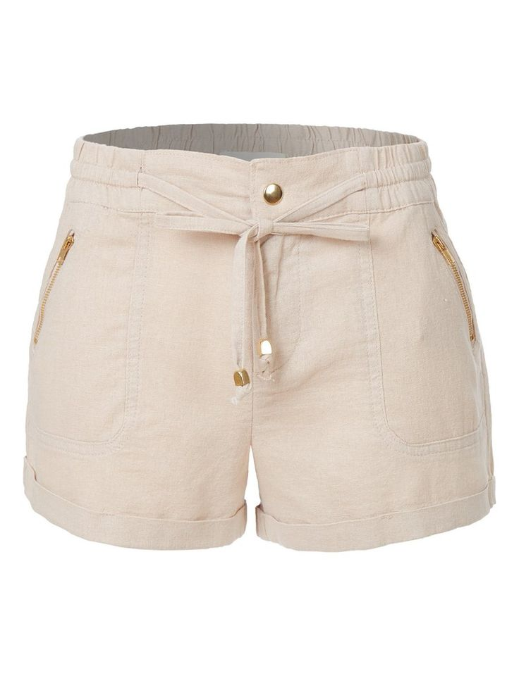 LE3NO Womens Lightweight Casual Linen Shorts Pants with Drawstring Waist